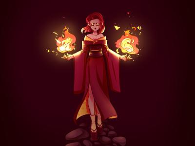 Fury demon kimono fire anime digital illustration digital painting digitalart girl art character character art illustration