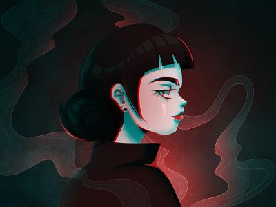 Melancholy red smoke smile digitalart anime girl character creation art character character art illustration