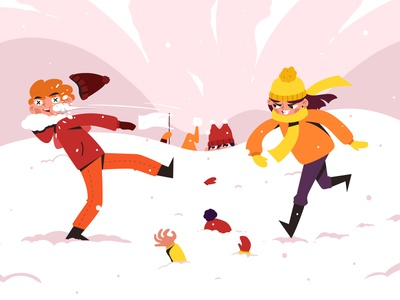 Winter charms losing defeat snow snowballs fun boy girl art character art illustration vector