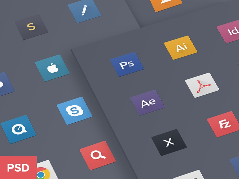 OSX dock icons | FREE DOWNLOAD icons freebie app mac dock set long shadow flat psd cc
