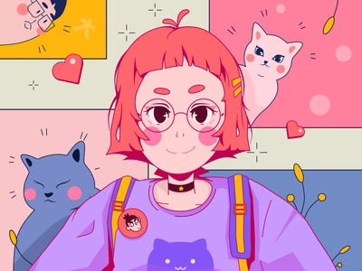 For my girlfriend and two kittens~ color lover girlfriend cat girl love vector 平面 design illustration