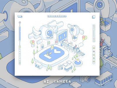 Xiaodu AI Camera children 人工智能 ai cartoon flat vector culture website baidu china web ux design app ui 平面 illustration branding