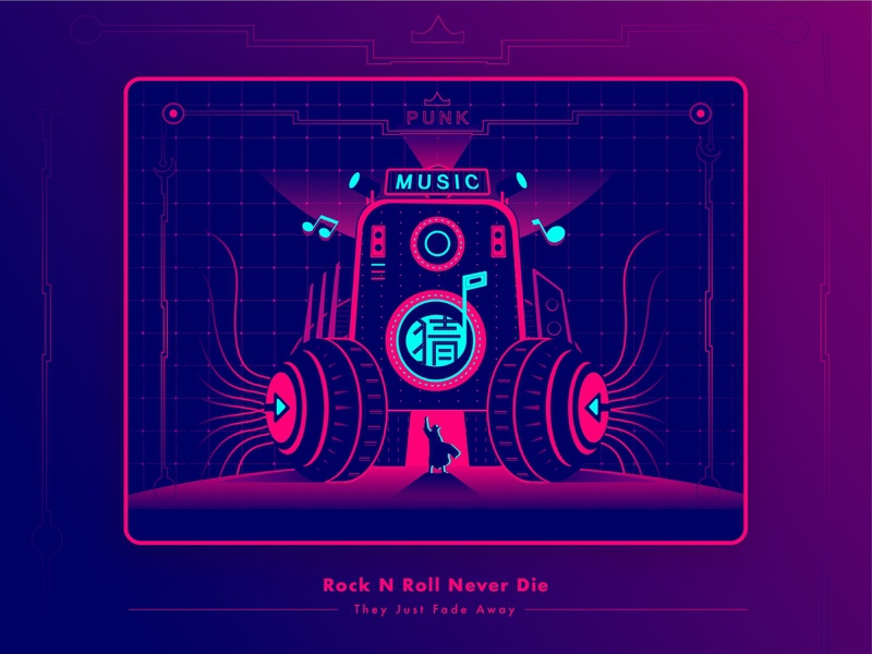 Rock N Roll Never Die metal dj sound headset pink linkin park musician punk rock and roll rock music flat vector web ux design app ui illustration branding