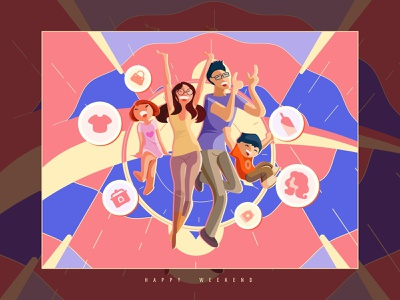 Happy weekend~Happy family~ clock music dance harmonious home shopping children parents family weekend warm happy design ui illustration
