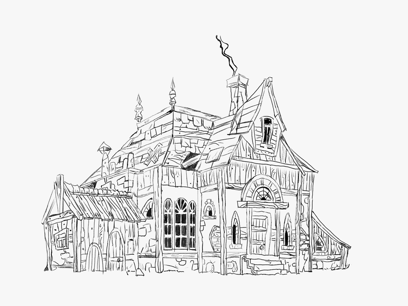 Old House Sketch abstract art in forest house pencil drawing draw pencil sketch redraw app abode photoshop
