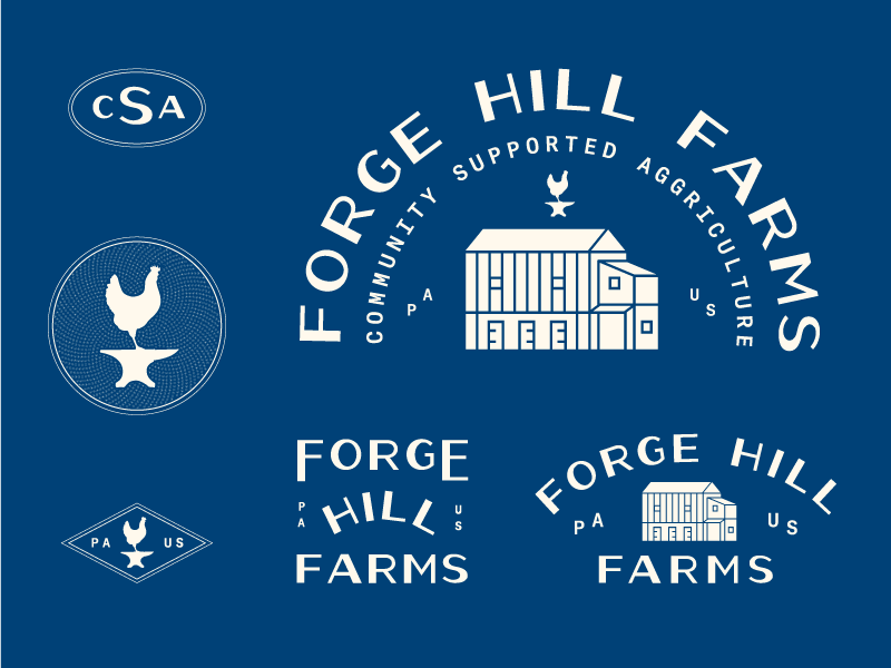 Forge Hill Farms Brand anvil chicken csa farms brand branding