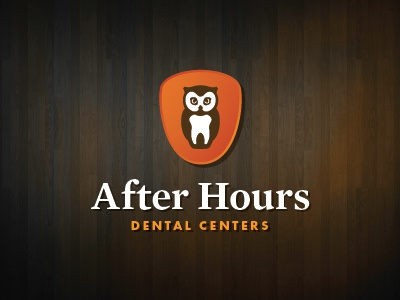 After Hours Dental logo logo owl wood teeth not wood teeth though dental dentist after hours