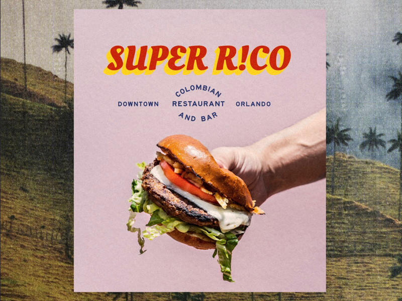 Super Rico Brand Option food restaurant type lockup typography photography branding