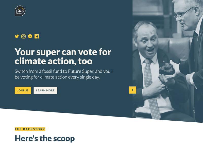 Future Super landing page: The Climate Election 2019 figma web  design webflow renewable energy sustainability finance politics australia climate change climatechange