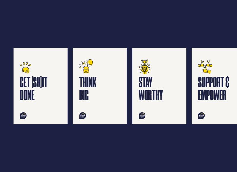 Future Super Company Values branding illustration renewable energy typography sustainability design australia