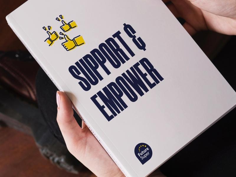Future Super Value: Support & Empower illustration branding renewable energy melbourne typography sustainability design australia