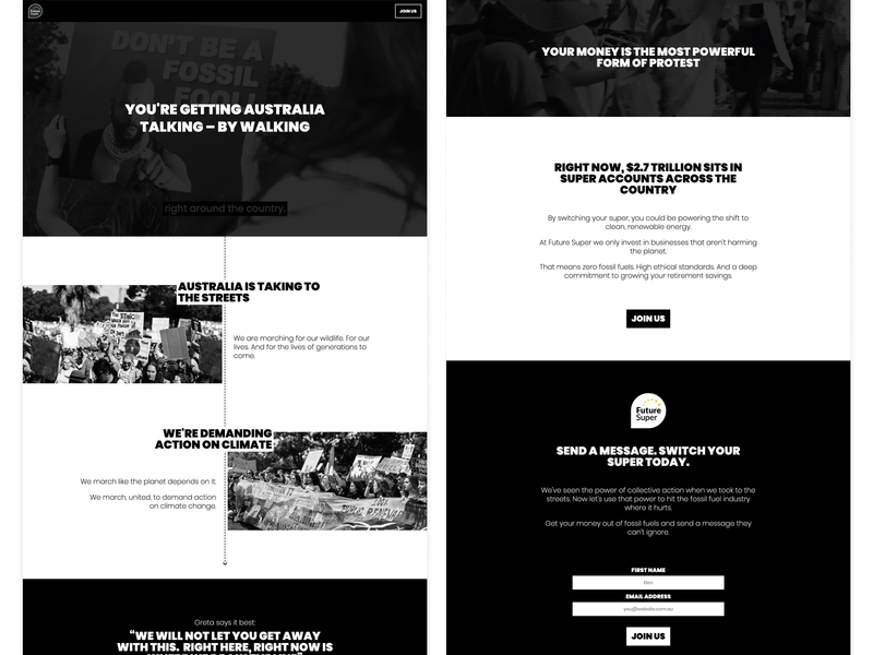Your money is the most powerful form of protest css grid climate change climatechange webflow renewable energy typography sustainability design australia