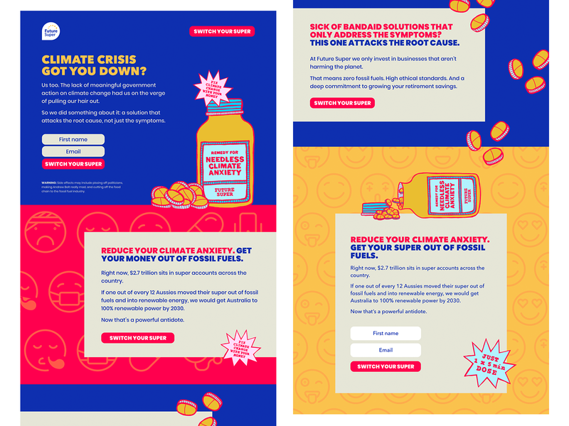 Climate crisis got you down? This'll cure what ails ya! illustration webdesign climate change webflow renewable energy typography sustainability design australia
