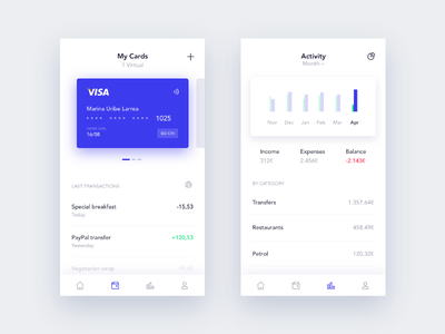 Finance App graphic iphone ux ui finance cards bank wallet