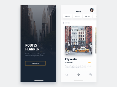 Routes Planner - Travel app iphone typography vector minimal ios concept clean flat app ux ui design guides city travel