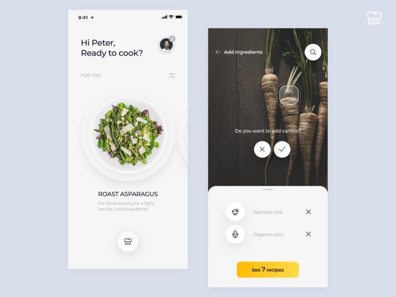 Recipes App Concept chef recipe food cook recipes flat illustration vector typography minimal ios design concept clean iphone ui ux app