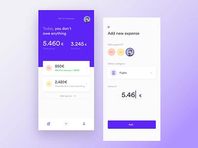 Split bills travel app vector flat travel expenses split typography minimal ios design concept clean app ux ui iphone