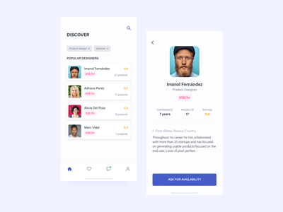 Find creatives from your own language iphone ui ux app clean concept design ios minimal flat typography creatives search discover profile platform ui daily vector