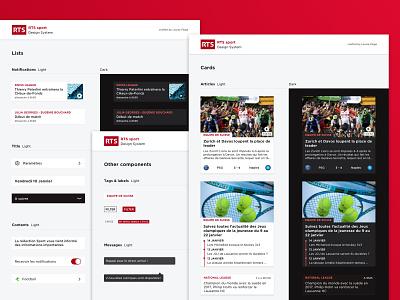 RTS sport app - Design System darkmode cards ux sport app design system ui mobile app