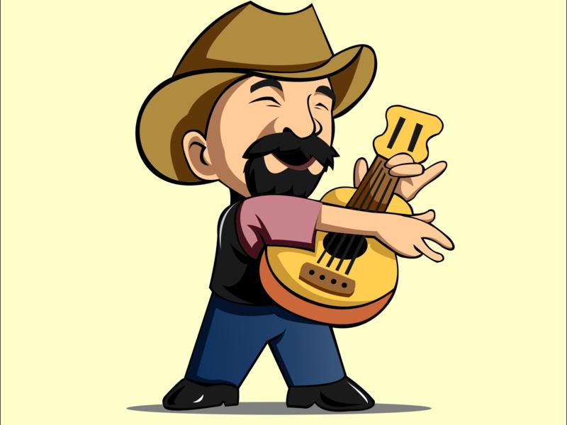 Guitarist character branding tshirt design mascot character logo design country music cowboy guitar art artworked vector art design art icon designer vector animation design artwork illustration logo