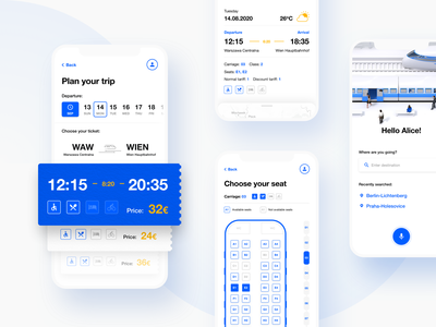Train Tickets Booking App wallet simple seat conceptual ticket iphone mobile ux concept trip travel blue white train flat illustration ui design