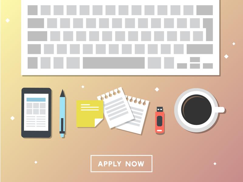 workspace cute vector graphics website banner poster gradient pastel office branding art design apply desktop job office