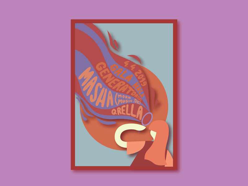 Masha Qrella + Generator graphic design blowing girl bubbles design colour concert vector typography illustration adobe poster art poster