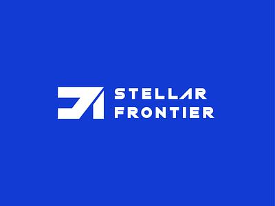 Stellar Frontier 2 scifi moon mars apollo rocket astronaut space monogram graphic design branding logo