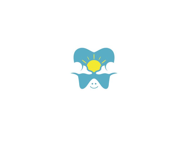 Teeth + Views dentist dental yellow blue mountain clouds sun teeth views branding logo