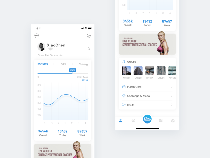 Pacer -Fitness APP personal page sport fitness app green branding interface icon card ux color blue ui app design