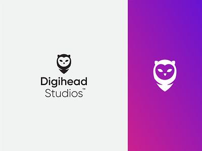 Digihead Studios — Work in Process logo typogaphy process owl
