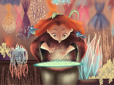 Magic Ritual in the Green House illustration art witchcraft magic nature digital digital painting illustration