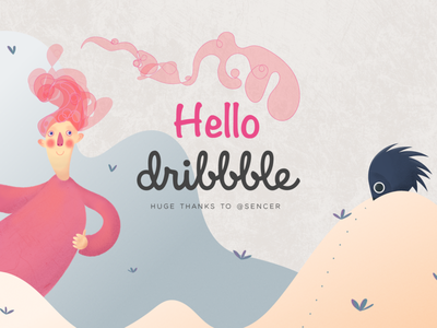Hey dribbble! vector design illustration