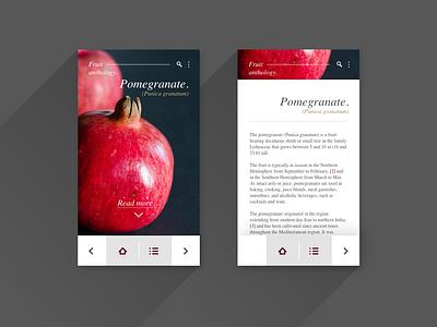 UI Exercise - Fruit Anthology Pomegranate - mobile adobexd mobile mobile app flat app ux ui design