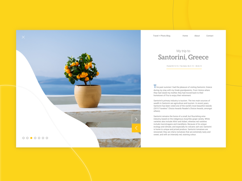 UI Exercise - Santorini, Greece Travel + Photo Blog