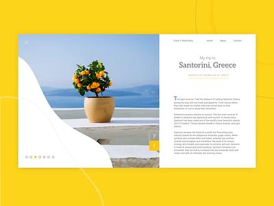 UI Exercise - Santorini, Greece Travel + Photo Blog blog blog design web design web ux ui design adobexd