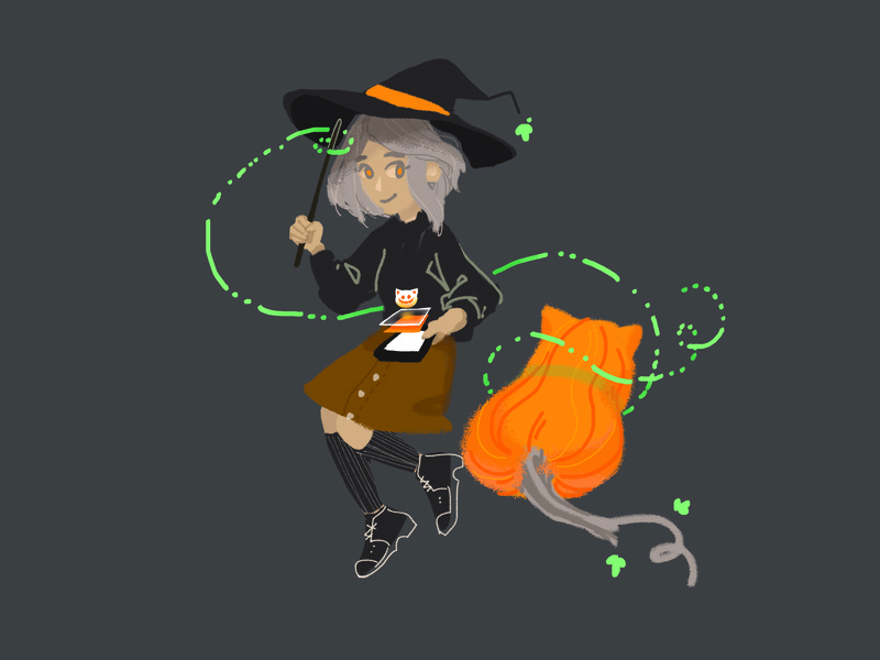 Witch and Pumpkin Cat