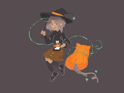 Witch and Pumpkin Cat art illustration adobe photoshop illustration