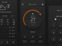 ecobee Concept userinterface concept eco remote weather dan maitland thermostat home automation software dark ios ui neumorphism ecobee