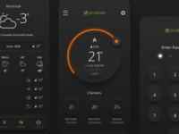 ecobee Concept userinterface concept eco remote weather dan maitland thermostat home automation software dark ios ui neumorphism ecobee