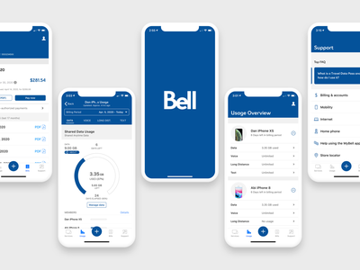 My Bell App released actual product usage iphone ios bell telecommunication native mobile ui mobile