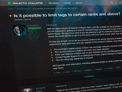 Vanilla Forums Video Game Theme concept forum dark theme video game vanilla forums