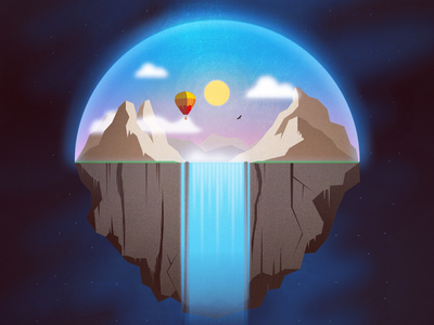 Contained mountains waterfall scenery hot air balloon