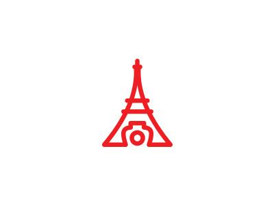 Photography studio in Paris eiffel tower camera lens red logo lines photo photography icon branding studio