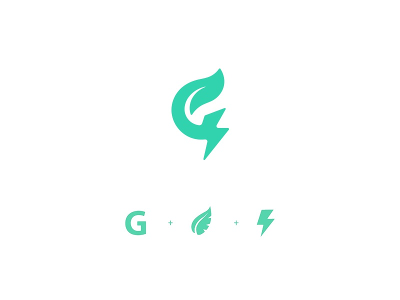 Green Energy branding icon logo bolt g plant leaf energy green