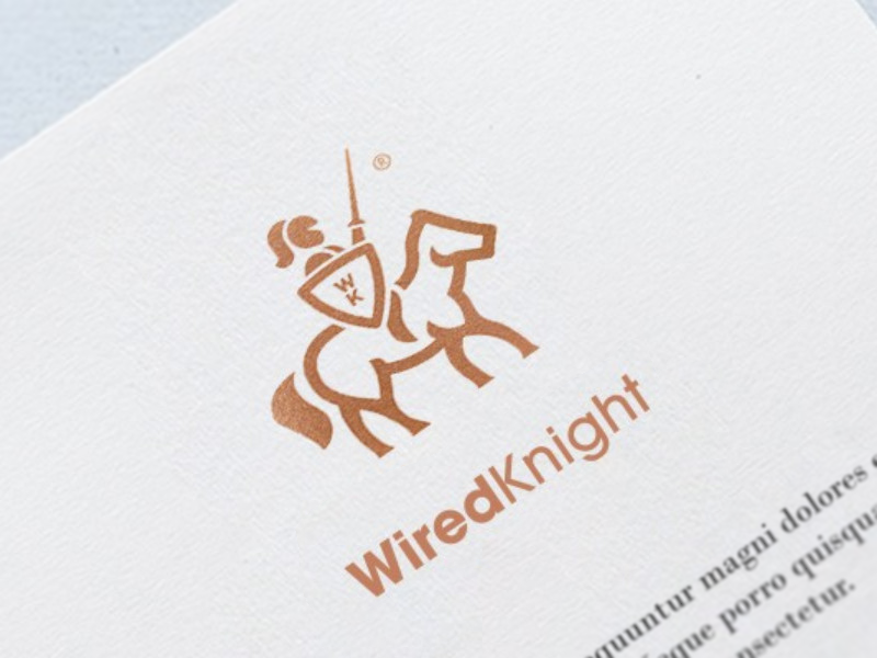 WiredKnight warrior branding icon sword horse logo knight