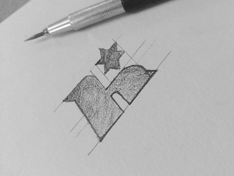 H*(WIP) handletter sketch icon star h logo