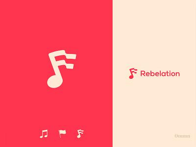 Rebelation design brand simple icon logo flag brand identity branding music app music rebel