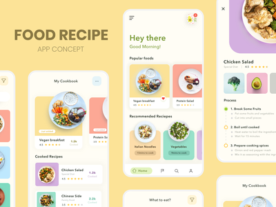 Food Recipe App interaction design concept design app design uxdesign recipes food and drink flatdesign cards ui dribbble adobe xd ui design recipe card recipe app food food app