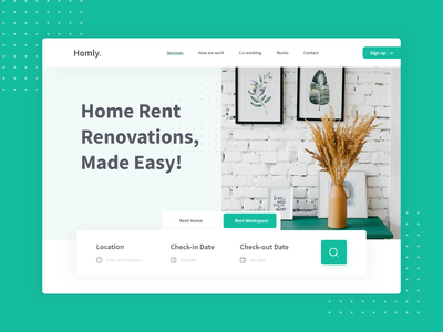 Landing Page - Home & Workspace Rental landingpage landing page landing page design uxdesign animation concept design app design ui uidesign adobe xd interaction design ui design
